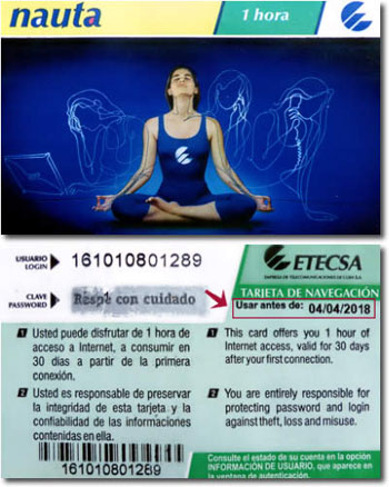 for 1 cuc per hour as of nov 1 2017 available from etecsa telepunto offices in all provinces users get a scratchcard revealing a 12 number code to be - Cuba Calling Card