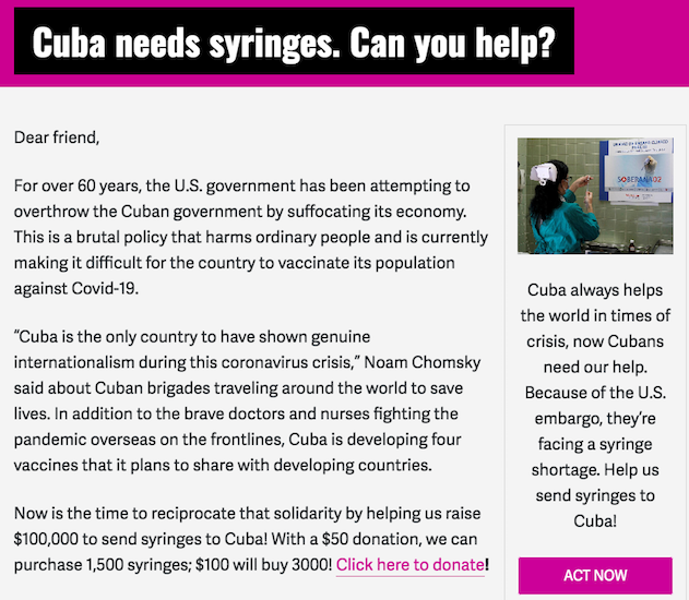 Cuba a besoin d'aide because l'embargo @ lacon