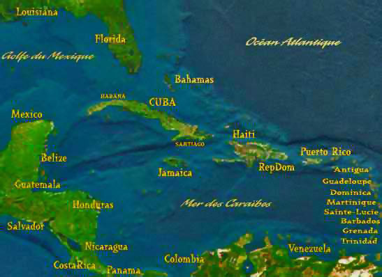 Map of caribbean Region