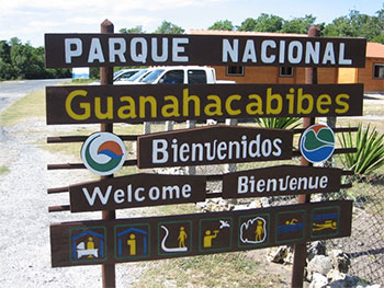 Welcome sign at La Bajada and its park management office