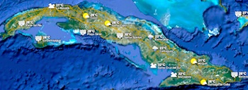 Weather on the island (Google) : click to enlarge, then click town to see 5-day forecasts © google