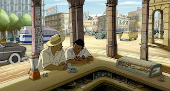 "Scene from Chico and Rita — ""shot"" entirely in Havana"