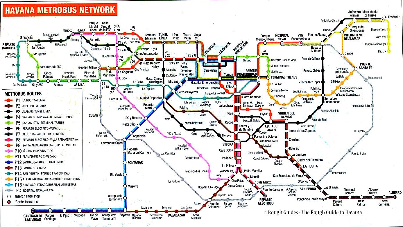 MetroBus de La Habana Plano de la Red cher Fred