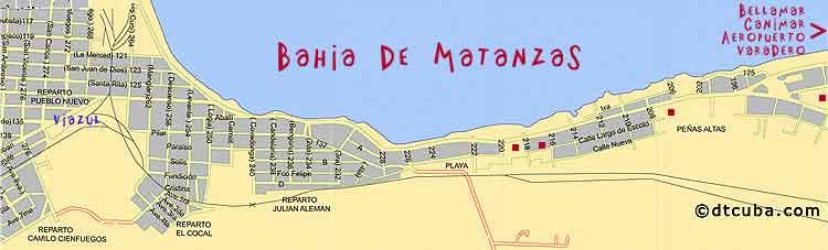 Map bahia de Matanzas