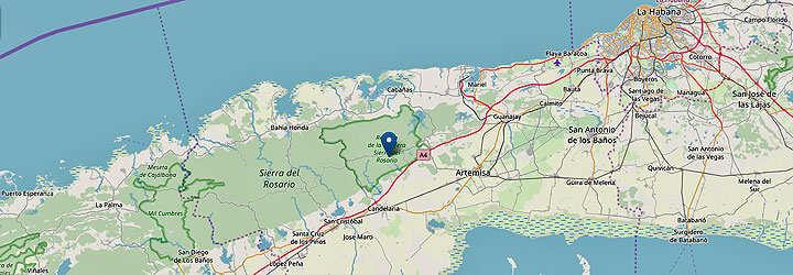 Map from Havana to Vinales