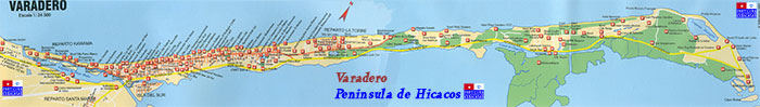 Large detailed map of the Hicacos Peninsula — Click to enlarge, Marge